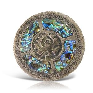Vintage Aztec Silver and Opal Brooch and Pendant